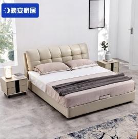 晚安家居北欧真皮床 现代1.8米皮主卧双人储物床  1.8m套餐(床+乳胶椰棕软硬双面独袋静音床垫)